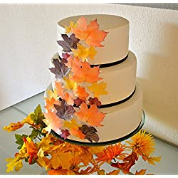 Sugar Robot Inc Edible Fall Leaves Assorted Set of 32 Wafers -Cake & Cupcake Toppers
