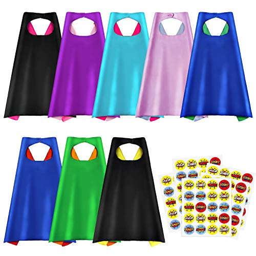 Superhero Capes, Party Dress Up Cape, Reversible Dual Color Party Costume with 100 Superhero Stickers for Kids-8 Packs ()