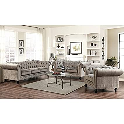 Charmant Abbyson Living 3 Piece Velvet Sofa Set In Gray
