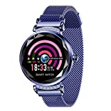 Bluetooth Smart Watch Compatible with iOS and Android, Blood Pressure monitoringSmart Watches Touchscreen with Heart Blood Pressure Test Rate Monitor Waterproof Pedometer for Men, Women and Kids-Blue