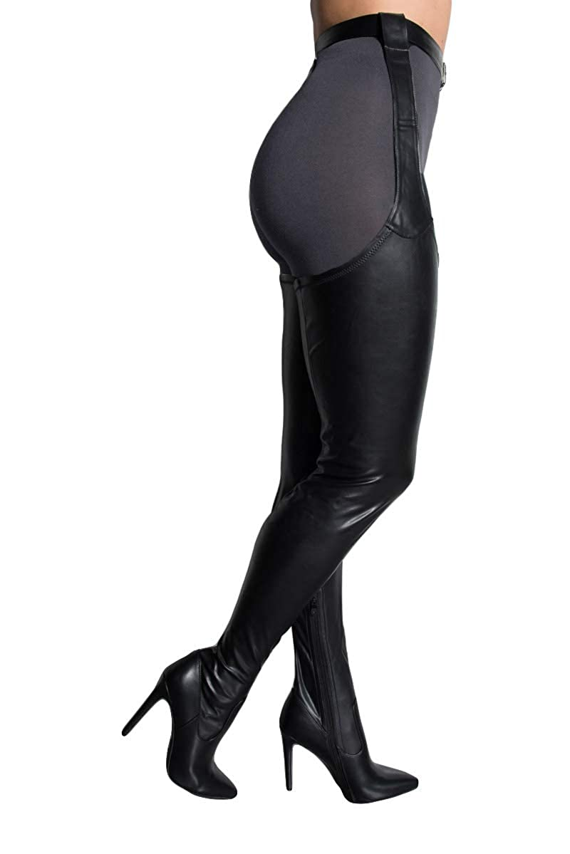 808893d7e9b AZALEA WANG Black Faux Leather Stiletto Heel Thigh High Sexy Belted  Suspender Chaps Boots