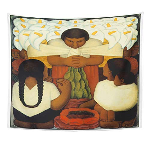 Semtomn Tapestry Artwork Wall Hanging Fine Diego Rivera Choose Your Famous Artist Flowers 50x60 Inches Tapestries Mattress Tablecloth Curtain Home Decor Print