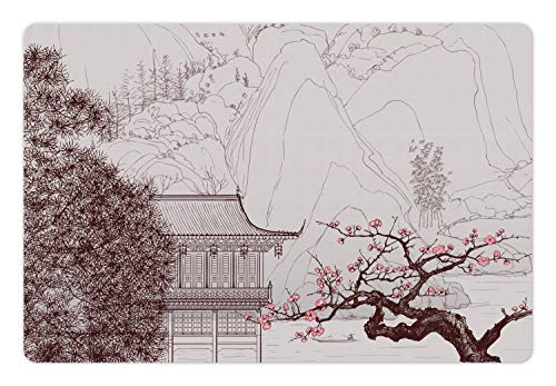 Pagoda Cat Tree - Ambesonne Pet Mat for Food and Water, Rectangle Non-Slip Rubber Mat for Dogs and Cats, Chinese Building Sakura Trees and Mountain Forms Pagoda Eastern Art Print, Brown Pink