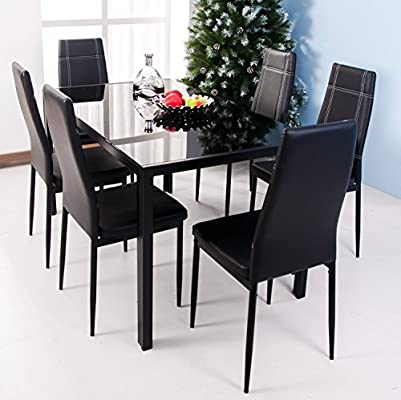 Phenomenal Merax 7 Piece Dining Set Glass Top Metal Table 6 Person Table And Chairs 55 Inch Black Home Remodeling Inspirations Basidirectenergyitoicom