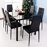 merax 7 piece dining set glass top metal table 6 person table and chairs 55 inch black - Kitchen Glass Table