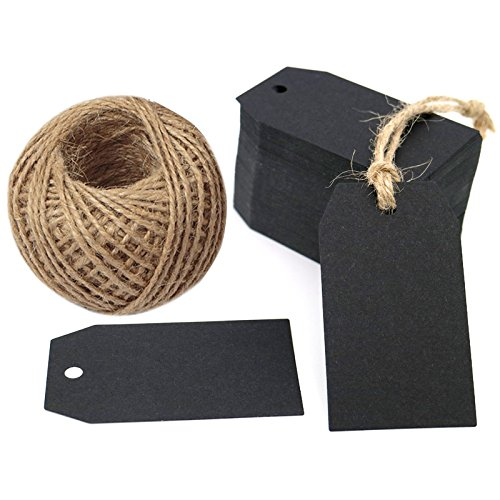 Greetings Gift Tag - G2Plus 100 PCS Kraft Gift Tags 2.7''x 1.5'' Craft Tags with String Blank Hang Tags with 100 Feet Jute Twine (Black)