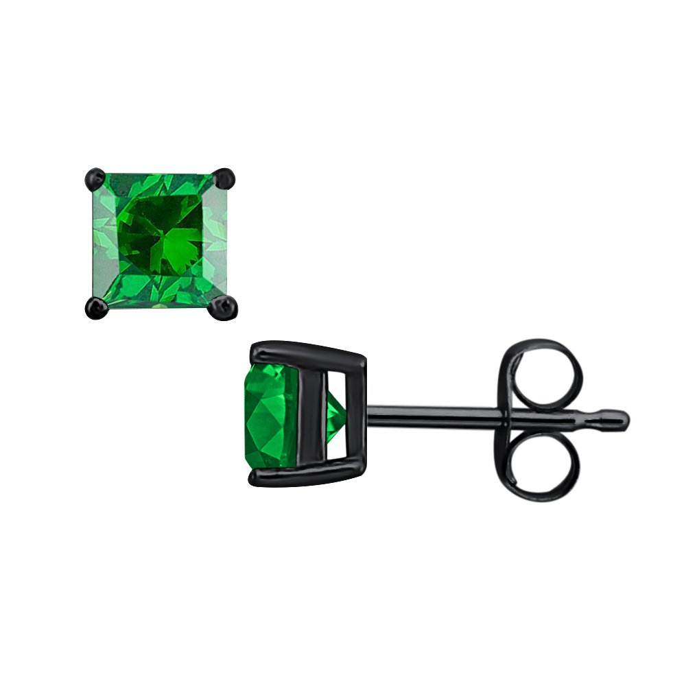 SVC-JEWELS Princess Cut Green Emerald Solitaire Stud Earrings 14K Black Gold Over .925 Sterling Silver For Womens /& Girls 3MM TO 10MM
