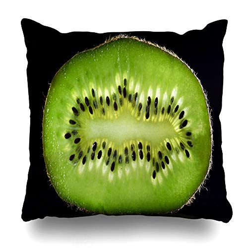 Ahawoso Throw Pillow Cover Square 16x16 Shiny Green Closeup Slice Kiwi Abstract Food Piece Drink Cut Delicious Dessert Detail Dieting Design Still Zippered Cushion Case Home Decor Pillowcase