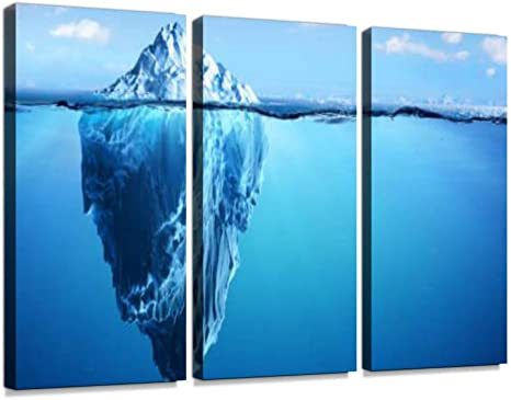 Amazon Com Iceberg Floating In Arctic Sea Print On Canvas Wall Artwork Modern Photography Home Decor Unique Pattern Stretched And Framed 3 Piece Posters Prints