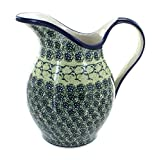 Polmedia Polish Pottery 64 oz Stoneware Pitcher H5691C Hand Painted from Zaklady Ceramiczne in Boleslawiec Poland. Shape S241A(GU1160) Pattern P2106A(DU41)