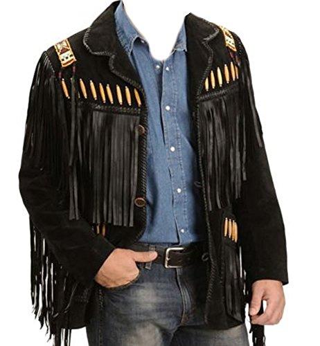 Men's Fashion - Western Style Suede Jacket with Fringes Bones & Beads-L (Bone Fringe Jacket)