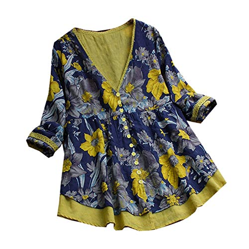Con Primavera Remiendo Floral Manga S Remata En V Cardigan Abotonada Sodial Blusa Oto?o Amarilla Boho Estampado Larga Camisa Mujer Cuello Suelta XSTxOdwq1