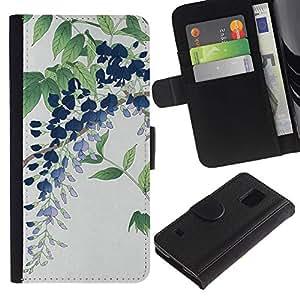 Billetera de Cuero Caso Titular de la tarjeta Carcasa Funda para Samsung Galaxy S5 V SM-G900 / flower leaf / STRONG