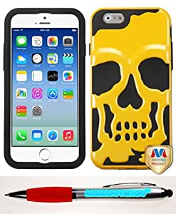 Accessory Factory(TM) Bundle (the item, 2in1 Stylus Point Pen) APPLE iPhone 6 (4.7-inch) Solid Pearl Yellow Black Skullcap Hybrid Protector Cover