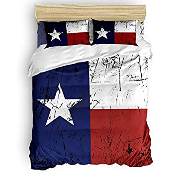Image of Home and Kitchen All Like Texas Flag 4 Piece Bedding Set Duvet Cover Set- Twin Size Ultra Soft Microfiber Quilt Cover with Zipper Closure (1 Comforter Cover + 1 Flat Sheet + 2 Pillowcases)- US State Flag