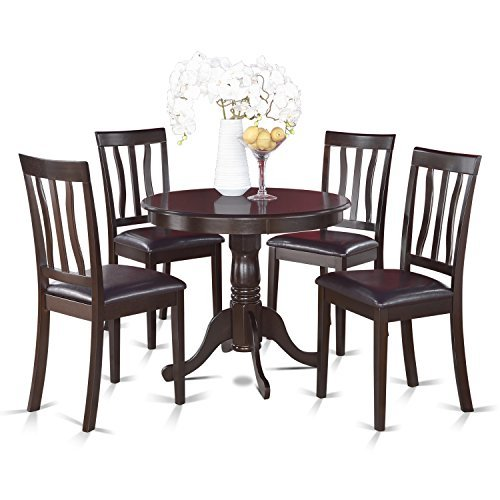 (East West Furniture ANTI5-CAP-LC 5-Piece Kitchen Table Set, Cappuccino Finish, Leather Seat,)