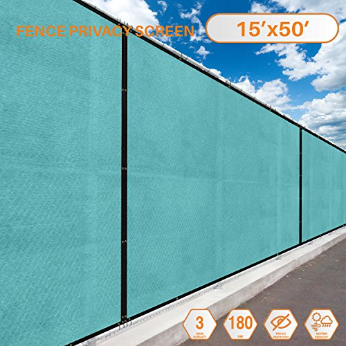 Sunshades Depot Tang Privacy fence screen 15′ x 50′ 180 GSM Heavy Duty Commercial Windscreen Residential Fence Netting Fence Cover 88% Privacy Blockage with excellent Airflow 3 Years Warranty