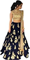 Sai creation Women's Silk Lehenga Choli (Sc589_Blue-Beige_Free Size)