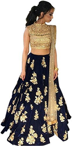 Buy Generic Women S Faux Silk Lehenga Choli Black Free Size At Amazon In