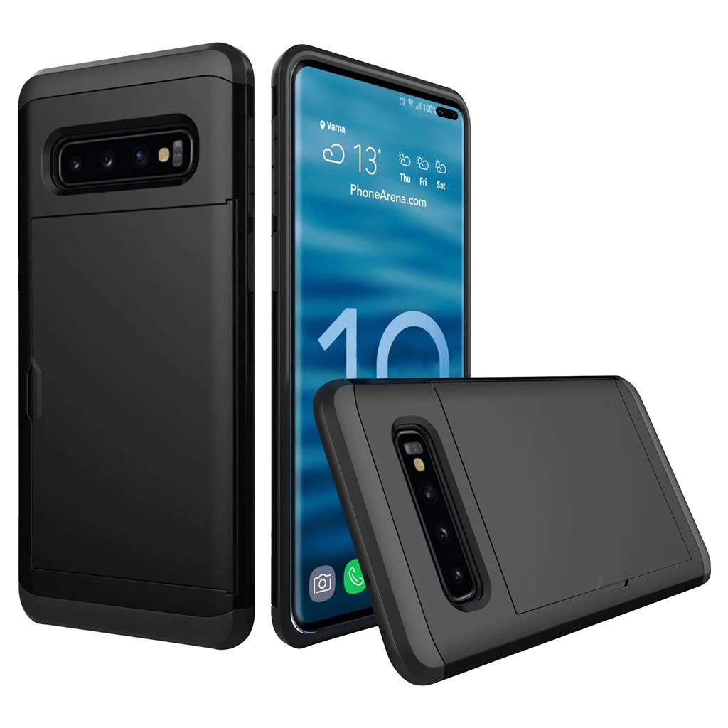Cyhulu Samsung Galaxy Phone S10 Plus Case, Hot New Brushed Hard PC+Silicone Case Cover Card Holder for Samsung Galaxy S10 Plus 6.4 inch, 11 Color Available (Black, One size)