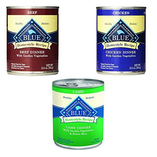 Blue Buffalo Homestyle Recipe Canned Dog Food Pack 12.5 oz x 12 cans – Lamb Dinner, Chicken Dinner and Beef Dinner