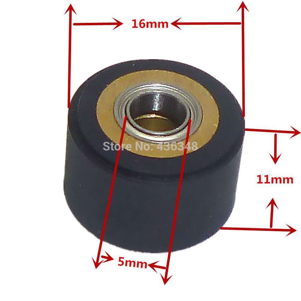 FINCOS 1/2/3/4/5/6pcs 5mmx11mmx16mm Pinch Roller Copper Core Printer Parts for Roland Vinyl Plotter Cutter Cutting Paper Pressing Wheel - (Color: 5pcs)