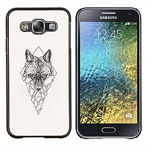 Qstar Arte & diseño plástico duro Fundas Cover Cubre Hard Case Cover para Samsung Galaxy E5 E500 (Polígono Triángulo Lobo)