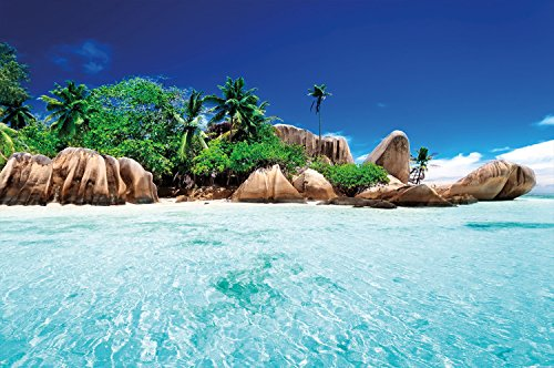 Crystal Clear Wallpaper - Secret Island in paradisiac crystal clear water wall decoration - Mural Beach Motiv XXL wallpaper by GREAT ART (55 Inch x 39.4 Inch/140 cm x 100 cm)