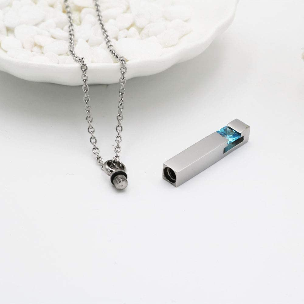 Silver Plating Crystal Bar Memorial Urn Necklace for Ashes Stainless Steel Keepsake Holder Urns Cremation Jewelry Pendant for Men//Women