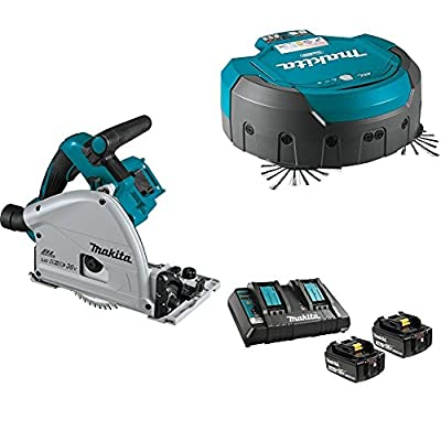 "Makita XPS01Z 18V X2 LXT Brushless 6-1/2"" Plunge Circular Saw, DRC200Z 18V X2 LXT (36V) Brushless Robotic Vacuum, & BL1850B2DC2 18V LXT Battery & Charger Starter Pack (5.0Ah)"