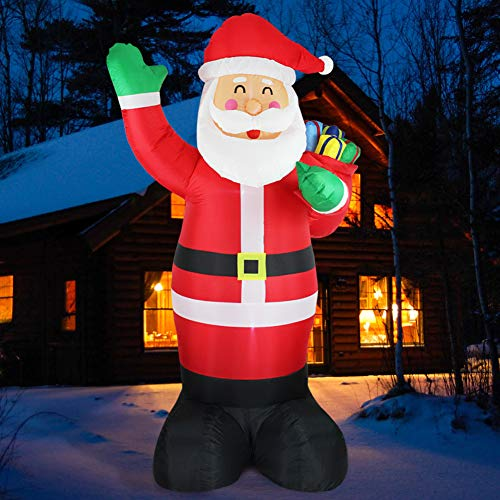 Fanshunlite Christmas Inflatable 8FT Santa Claus Carry Gift Box Lighted Blow-Up Yard Party Decoration for Xmas Airblown Inflatable Outdoor Indoor Home Garden Family Prop Yard