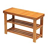 shoe rack front door - Ufine Bamboo Shoe Bench 2 Tiers Entryway Shoe Storage Rack Shelf Organizer Hallway Seat Bathroom Stool Foot End Table Balcony Bedroom for Parents Adult Children Waterproof