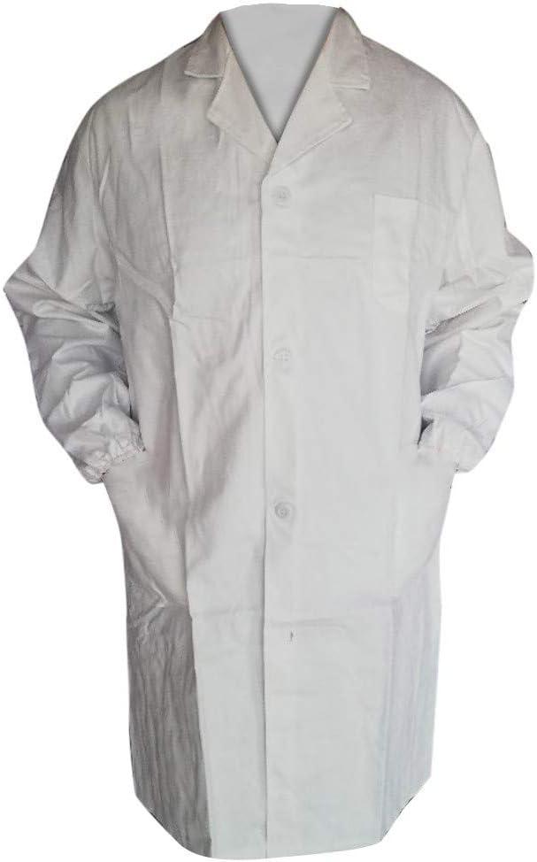 Tunique Unisexe Blanche en Coton pour /étudiants Waniba Robes Blouse de Laboratoire pour Enfants Doctor Coat Blouse en Sciences m/édicales avec Boutons de s/écurit/é