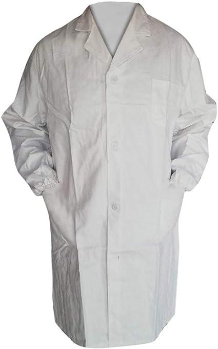 BHYDRY Mujer Hombre Unisex Bata de Laboratorio Blusa de Manga Larga Blanca Outwear con Bolsillos: Amazon.es: Ropa y accesorios