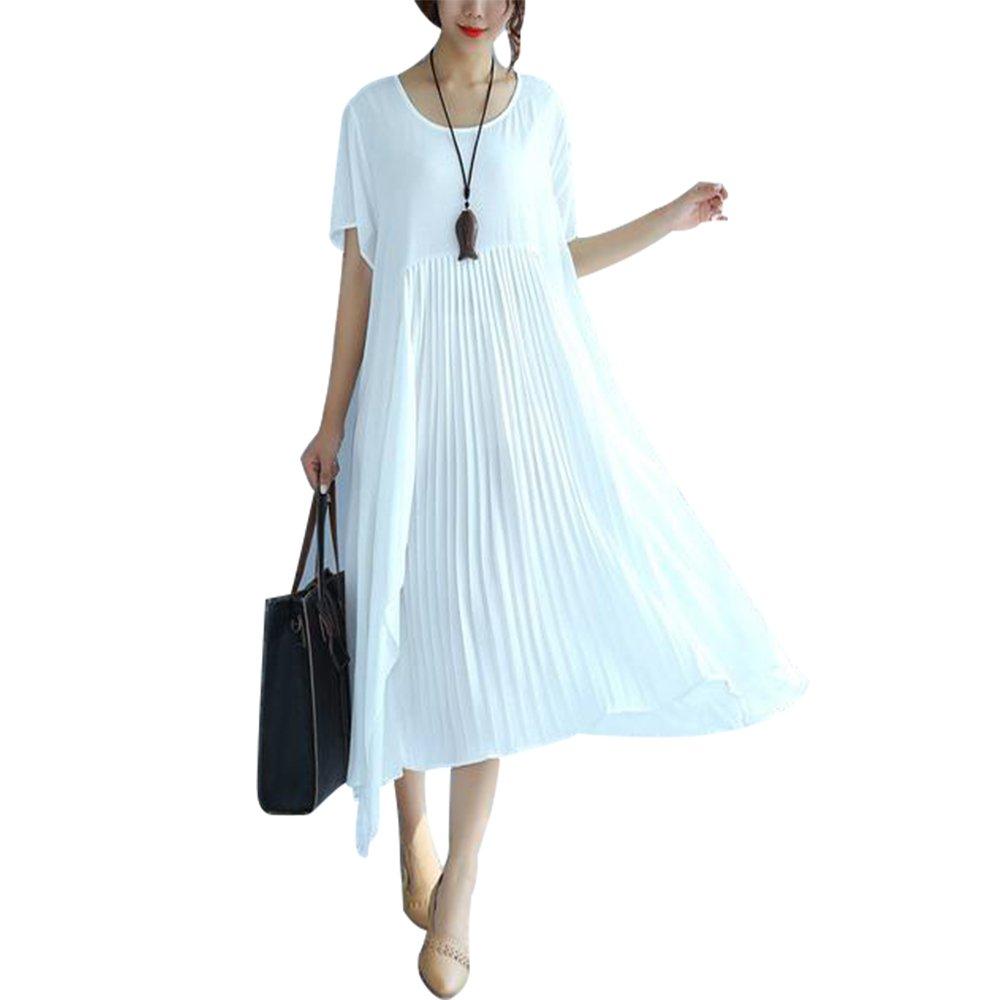f6e271840f19f BUYKUD Folded Women Loose Casual Cotton Summer Splicing White Dress ...