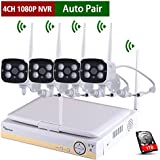 Amorvue 4CH Wireless Outdoor Security Camera System with 10.1 LCD Monitor and 4pcs 3.6mm Wide Angle 65 Foot Night Vision Wireless IP Bullet Cameras, 1TB Hard Drive Auto Pair, Motion Detection