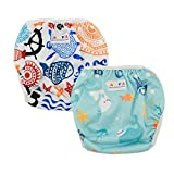 Alva Baby 2pcs Pack One Size Reuseable Washable Swim Diapers DYK05-06
