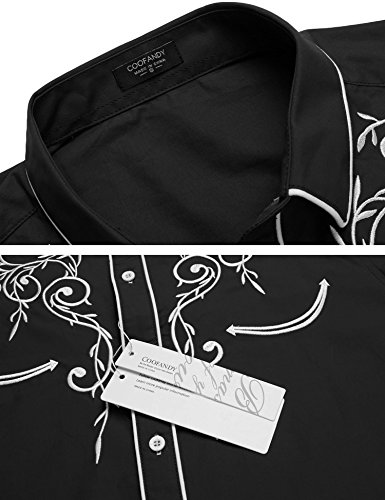 COOFANDY Men's Long Sleeve Embroidered Shirt Slim Fit Casual Button Down Shirts