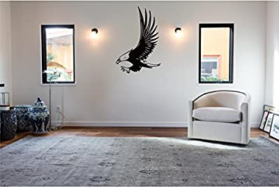 """Flying Bald Eagle Wall Decal Sticker Home Decor 23"""" x 16"""""""