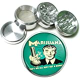 "Marijuana Get A Bong Funny 63mm 2.5"" 4 Pc Aluminum Sifter Magnetic Herb Grinder D-551"