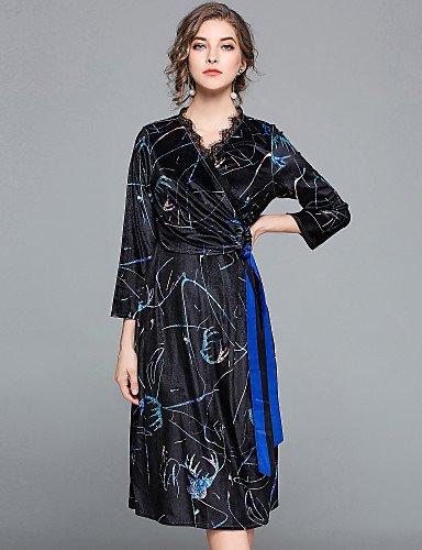 Altura Inelástica Larga Opaco V Vestido Blue Vestido De Fiesta Mujer Manga Cuello JIALE3536 De Imprimir Gran 7Rw6wqz