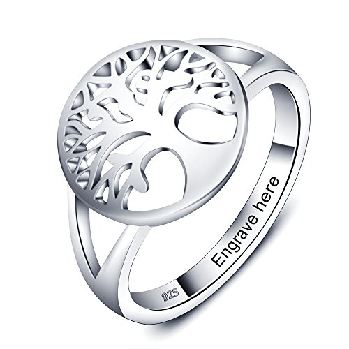 Love Jewelry Personalized Family Tree of Life Rings for Women Engraved Rings for Grandmother Mothers Ring with Names (9)