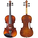 ADM 4/4 Full Size Ebony Fitted Solid Wood Starter Violin Outfit for Beginners, Natural