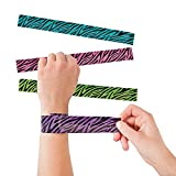 Zebra Slap Bracelets 8.5 Inches - Pack Of 16 – Assorted Neon Colors Animal Print Snap Bracelet - For Kids Great Party Favors, Bag Stuffers, Fun, Gift, Prize - By Kidsco