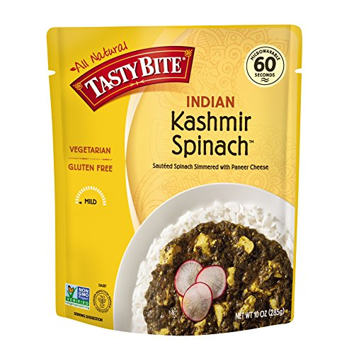Tasty Bite Indian Entrée Kashmir Spinach 10 Ounce, Fully Cooked Indian Entrée with Sautéed Spinach with Paneer Cheese, Vegetarian, Gluten Free, Microwaveable, Ready to Eat