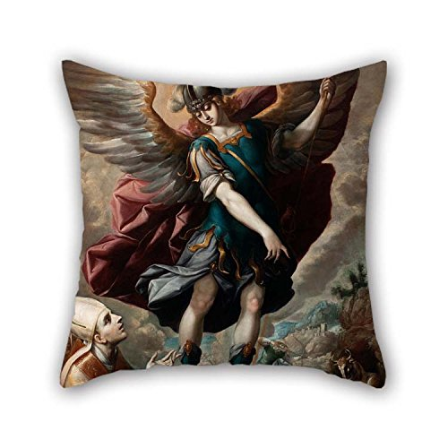 beeyoo Throw Pillow Covers of Oil Painting Sebastian Lopez De Arteaga - Saint Michael and The Bull for Gf Bar Seat Indoor Adults Christmas Play Room 16 X 16 inches / 40 by 40 cm(Two Sides)