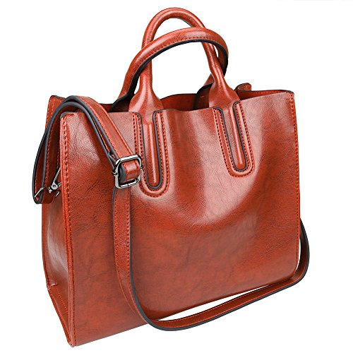 Large Brown Womens Handbag (Fantastic Zone Oil Wax Leather Women Top Handle Satchel Handbags Shoulder Bag Purse Messenger Tote)