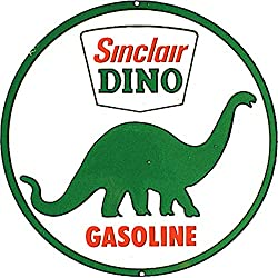 Desperate Enterprises Sinclair Dino Gasoline Tin Sign, 11.75 Diameter