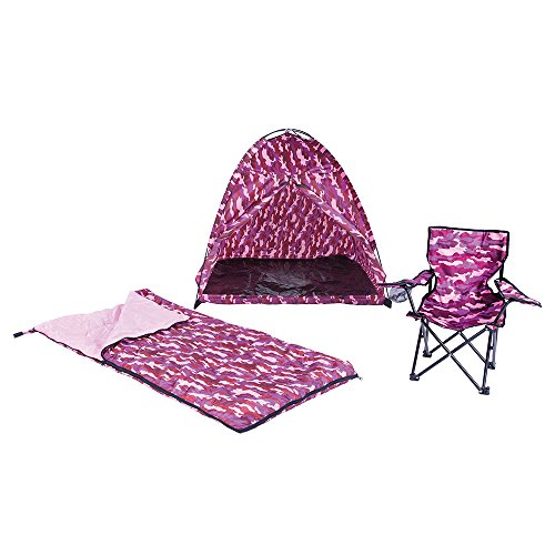 Camo Dome Tent (Pacific Play Tents Kids Pink Camo Dome Tent Set with Sleeping Bag and Chair)