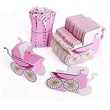 Lalang 25 x Baby Baby Wagen Hochzeit Gastgeschenk Süßigkeitkasten Geschenkbox Geschenkverpackung Bonboniere Geschenkkarton Hochzeit Dekoration Tischdeko (rosa)